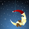 Moon and teddy, baby greeting card Royalty Free Stock Photography