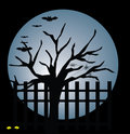 Moon,tree and bat Royalty Free Stock Images