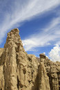 Moon valley  clay's  towers  under amazing sky Royalty Free Stock Image