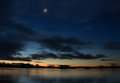 Moon water area after sunset with a Royalty Free Stock Photo