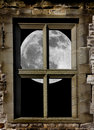 Moon in window Royalty Free Stock Photo