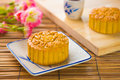 Mooncake for chinese mid autumn festival foods the chinese word words on mooncakes means assorted fruits nuts not a logo or Stock Photography
