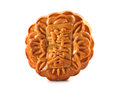 Mooncake close up of a isolated on white background the chinese words indicates the type of not the brand Royalty Free Stock Photography