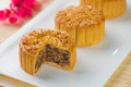 Mooncake and tea chinese mid autumn festival food photo Stock Images