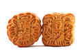 Mooncakes close up of two on white background the chinese words indicates the type of mooncake not the brand Stock Image