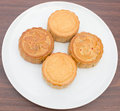 Mooncakes placed on a white plate Royalty Free Stock Photography