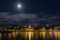 Moonlight city harbor lights of wellington with lights reflection and bright too Stock Photo