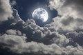 Moonlight a cloudy sky Stock Photos