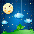 Moonlight countryside and moon fantasy illustration Stock Photo