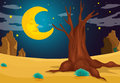 A moonlight evening illustration of Stock Image