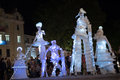 Moonlight invaders varna bulgaria st june performers in surreal costumes play with lights and shadow on nezavisimost square Royalty Free Stock Photo