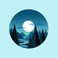 Moonlight mountains vector the moon lighting up a moutain landscape illustration Royalty Free Stock Photography