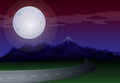 A moonlight scenery along the road illustration of Stock Images