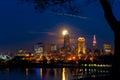 Moonrise behind Cleveland Royalty Free Stock Photo