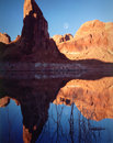 Moonrise, lago Powell, pagina, Arizona Immagine Stock