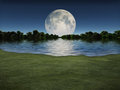Moonrise over Lake Royalty Free Stock Photo