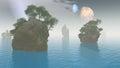 2 moons alien landscape Royalty Free Stock Photo