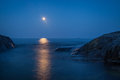 Moonshine over the baltic sea moon rises in swedish archipelago Royalty Free Stock Photos