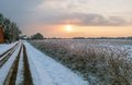 Moor in winter snowy path into the at sunset Stock Photo
