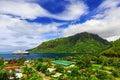 Moorea french polynesia opunoha bay from the magic mountain Stock Photos