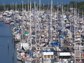 Moored boats and barges in the harbor Royalty Free Stock Photo