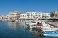Moored boats harbour chania in the of crete greece Stock Photography