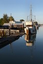 Moored Fishboat, Delta, British Columbia Stock Photography