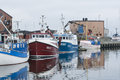 Moored fishingboats simrishamn sweden in commercial fishing harbour scania swedish skåne Royalty Free Stock Image