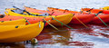Moored kayaks Royalty Free Stock Photo