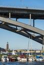 Moored leisureboats under Västerbron bridge Stockholm Royalty Free Stock Photo