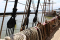 The moored old ship onboard jamestown settlement virginia Royalty Free Stock Image