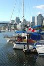 Moored sailboats & yachts in False Creek BC. Stock Image
