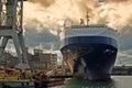 Moored ship at gdynia harbor poland europe Royalty Free Stock Image