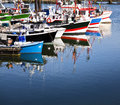 Moored trawlers in saint jean de luz france row of harbor Royalty Free Stock Photos