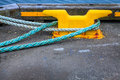Mooring lines closeup image of around cleat in reykjavik port in iceland Royalty Free Stock Images