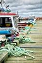 Mooring rope along a jetty Royalty Free Stock Photo