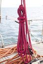 Mooring rope tied on boat Royalty Free Stock Photo