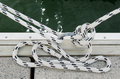 Mooring rope two ropes tied around steel anchor Stock Photos