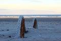 Moorings on the beach patagonia Stock Photo