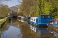 Moorings at hebden bridge canal narrowboats the close to the west yorkshire town of calderdale Royalty Free Stock Photography