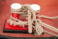 Moorings on a red and black boat Royalty Free Stock Photos