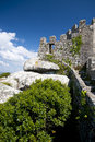 Moorish Castle stone wall at Sintra Royalty Free Stock Photography