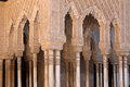 Moorish columns arches and of alhambra harem in granada spain Royalty Free Stock Photography