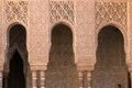 Moorish columns arches and of alhambra harem in granada spain Royalty Free Stock Images