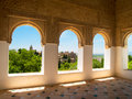 Moorish pavilion and gardens of Alhambra, Granada Royalty Free Stock Image
