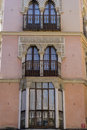 Moorish-style balconies, streets of the city Toledo, medieval ar Royalty Free Stock Photo