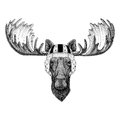 Moose, elk Wild animal wearing rugby helmet Sport illustration