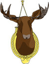 Moose head on a decorative stand isolated on white background Stock Images
