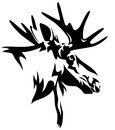 Moose head or elk alces alces black and white design realistic animal outline Royalty Free Stock Images