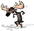 Moose with moccasins cartoon illustration of a steps on tiptoe Royalty Free Stock Image